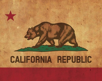 Vintage California Flag on Canvas, California, Flag, Wall Art, California Photo, California Print,West Coast Flag, Single or Multiple Panels