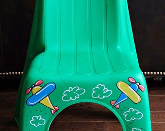 Personalized Kid's Plastic Chair, Heavy Duty - AIRPLANE Theme for Boys or Girls - Pick Your Color!