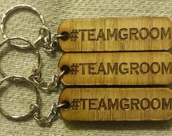 Team Groom Oak Wedding Keyrings (3No. Per pack)