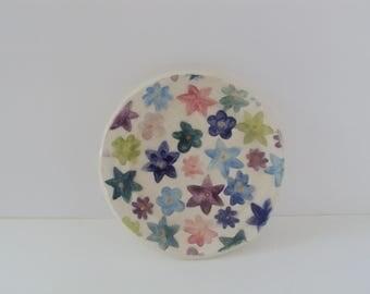 Multi-colored ceramic spoon rest, floral pattern, small ceramic spoon rest