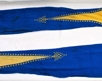 Antique Women's Edwardian Blue and Gold Silk Stockings/Edwardian Women's Silk Stockings/Women's Silk Stockings/Women's Edwardian Stockings