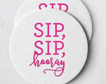 White and Hot Pink Foil Stamped Coasters - Sip, Sip, Hooray