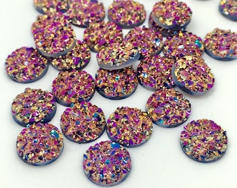 12 Gold Pink Druzy Cabochons 12mm Faux Druzy Bronze Cabochon Resin Embellishments Charms
