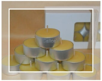 Pure Organic Australian Beeswax Large Tealight Candles (Tealights)