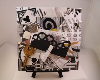 "Title:  Original Mixed Media Collage Art, 5x5, Canvas, ""Black and White"""