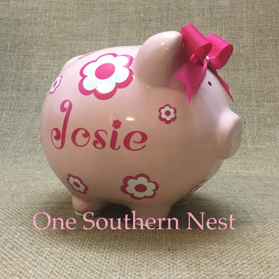 Personalized Pearhead Piggy Bank, pink w/flowers name name.  The Perfect gift for baby shower, birthday, or Christmas.