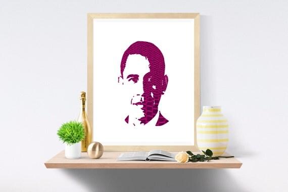 Obama, Barack Obama, President, Michelle Obama, Election, Snake Skin, Purple Print, Purple Prints, White Print, White Prints, Wall Art