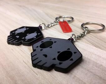 Overwatch Sombra Keychain, Skull EMP Symbol (purple transparent acrylic, laser-cut)