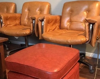Mid Century Modern Retro Orange Pillow Top Footstool Ottoman W/Wheels Vintage