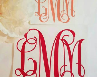 FREE SHIPPING// Personalized Monogram Decal // Vine Monogram Decal // Circle Monogram Decal //