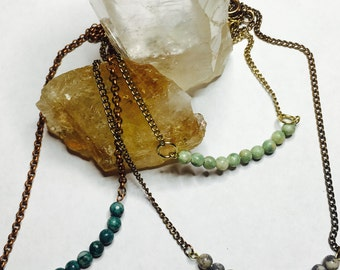 Faceted Gemstone Beaded Bar Necklace