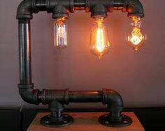 custom made pipe lamp great for table or desk