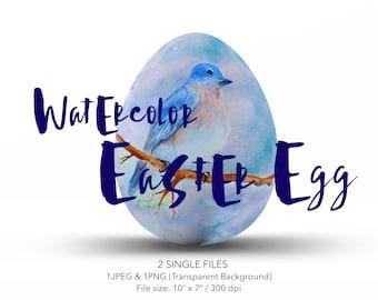 Print Bird Watercolor Digital Art Download Watercolor Printable Nursery Decor Print Blue Wall Art Digital Bird Clip Art Egg Watercolor Art