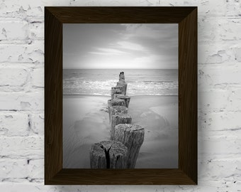 black and white beach photography, poles pier wall art print, coastal wall decor, instant digital download, beach printable artwork
