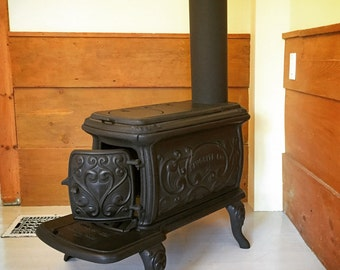 Vintage Canadian Cast Iron Antique Wood Stove - Fully Refurbished - Functional Antique