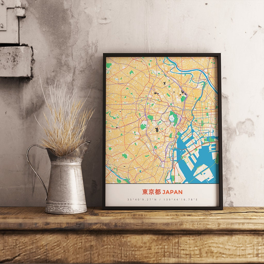 Premium Map Print of Tokyo Japan - Simple Colorful - Unframed ...