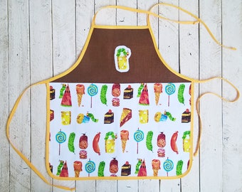 The Very Hungry Caterpillar apron kids, organic cotton, toddler accessories, children photo shoot props, bookworm gifts, baby photography