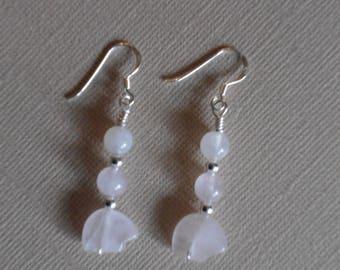 Rose Quartz Bear Fetish Zuni Gemstone Earrings Sterling Silver & Moonstone