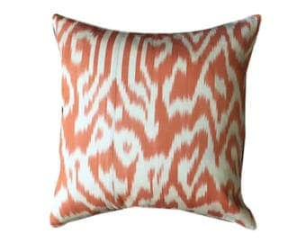 Orange Ikat Cushion Pillow Cover, 45 x 45 cm
