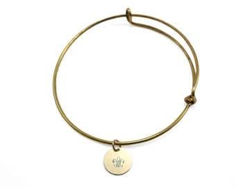 Custom personalized hand stamped gold charm bangle bracelet