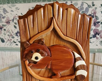 Mother Raccoon with Baby - 3D Intarsia