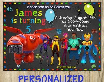Big Hero 6 invitation, Baymax - Invitation, Baymax - Birthday Invite, PERSONALIZED, Digital File