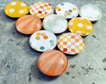 """1"""" Glass Dome Magnets (set of 10)"""