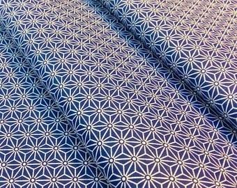 Fabric Saki Japanese pattern Asanoha Navy Blue - size to 1 quantity 50 cm x 160 cm - 100% cotton