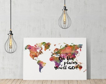 Decorative World Map Oh the Place You will Go! Design Decorative Art Canvas Print /Home Decoration/ Wall Art/Gallery Wrapped/Ready to Hang