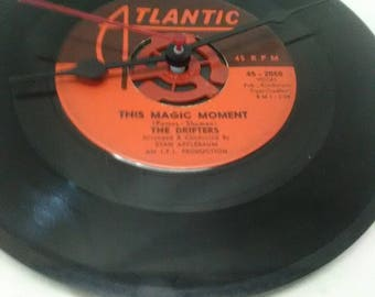 The Drifters 45 Record Clock - That Magic Moment