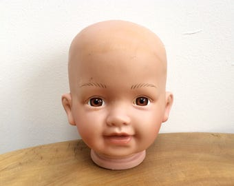 Vintage Vinyl Baby Doll's Head - inset brown eyes, NJSF, KF 355 A
