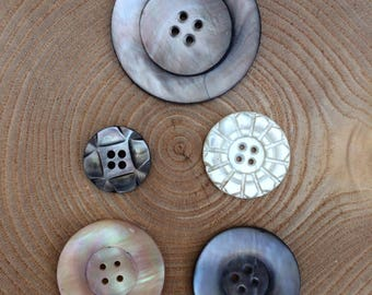 Mixed Lot Antique Victorian Carved,Polished Mother of Pearl Buttons - 48mm to 22mm