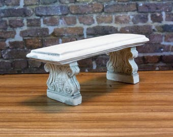 Dollhouse Miniature furniture in twelfth scale or 1:12 scale.  Stone park bench.  Item #321.