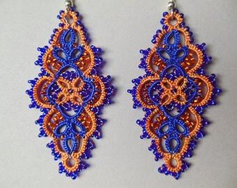 Bright tatting earrings, tatted lace earrings, blue and orange earrings, orange jewelry, bright summer jewelry,
