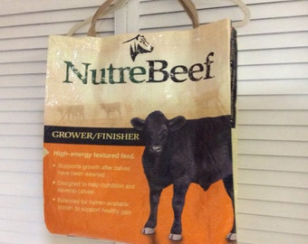 Cow market bag repurposed from a feedbag