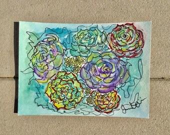 Succulent Original Contour Line Watercolor Painting 5x7