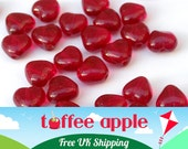 15 x 6mm Czech Pressed Glass Translucent Ruby Red Heart Beads