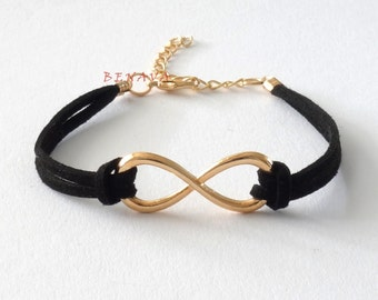 Infinity Bracelet Pendant black gold Friendship Bracelet wedding partner jewelry bracelet