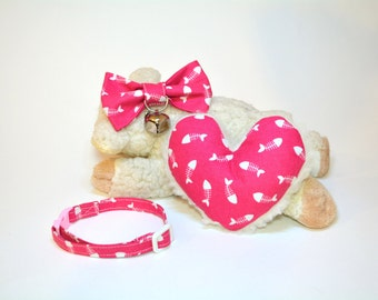 Cat Gift Set - Cat Bow Tie With Collar & Bell - Catnip Toy for Cat. Pink Cat Collar - Beautiful Cat Gift Set.
