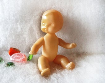 Old hard plastic toy Naked Kewpie baby doll Small movable joints figurine Kids childs collection Retro Making Craft supply parts Collectible