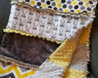 Minky quilt, rag quilt, minky rag quilt, minky blanket, little man, custom blanket, yellow and grey nursery, strip quilt, baby boy blanket