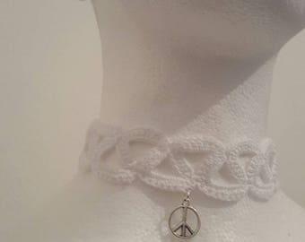 "Handmade ""PEACE"" crochet White Lace choker"