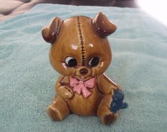 Vintage Lefton Ceramic Teddy Bear with Blue Bird Piggy Bank