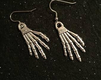 Skeleton hands, skeleton earrings, bone earrings, goth earrings, punk earrings, skeleton, skeleton jewelry, goth, punk, cool earrings, gifts