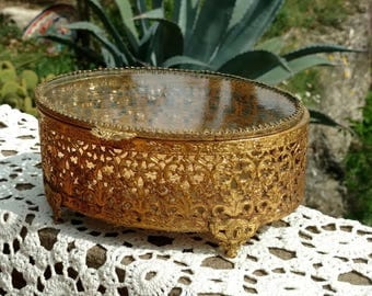 Vintage 1950's Gold Filigree Jewelry Box