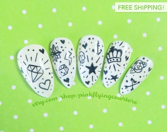 Tattoo Doodles press on nails