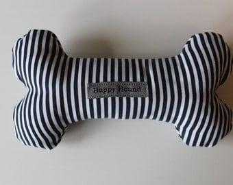 Handmade Dog Toy - Dark Blue Stripe
