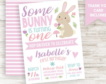 Some Bunny Invite Invitation First Birthday Easter Themed Girl ANY AGE 5x7 Digital Personalized
