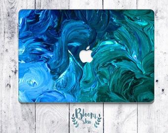 Macbook pro 13 skin custom macbook decal Oil paint apple decal stickers macbook decal sticker Hand draw Abstract blue waves BS016