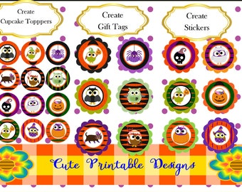 Halloween Printable Circle, Circle Tags, Printable Party Tags, Cupcake toppers, Gift Tags, Halloween Stickers, Favor tags, C97
